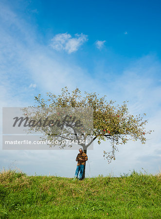 Farmer standing on hill next to apple tree, eating apple, Germany Stock Photo - Premium Royalty-Free, Image code: 600-07148341