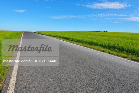 Country Road in Spring, Altertheim, Bavaria, Germany Stock Photo - Premium Royalty-Free, Image code: 600-07156448