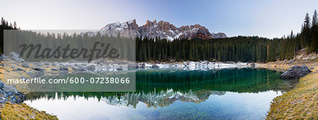 Lake Karersee and Latemar before Sunrise in Autumn, South Tyrol, Italy Stock Photo - Premium Royalty-Free, Image code: 600-07238066