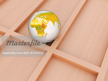 Digital Illustration of Glass Marble covered with World Map showing Africa, Europe and Asia Stock Photo - Premium Royalty-Free, Image code: 600-07279112