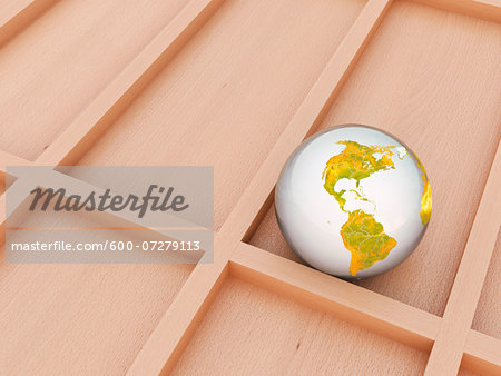 Digital Illustration of Glass Marble covered with World Map of North and South America Stock Photo - Premium Royalty-Free, Image code: 600-07279113
