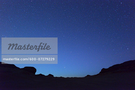 Starry Sky in Desert at Night, Matruh Governorate, Libyan Desert, Sahara Desert, Egypt, Africa Stock Photo - Premium Royalty-Free, Image code: 600-07279229