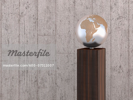 Illustration of metal globe on wooden stand, showing Africa, Europe and Asia, studio shot on grey, wooden background Stock Photo - Premium Royalty-Free, Image code: 600-07311007
