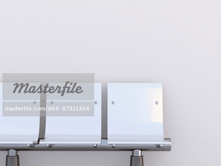 Illustration of close-up of three white seats in a row on white background Stock Photo - Premium Royalty-Free, Image code: 600-07311304