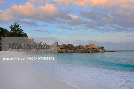 Grand Anse Beach at Sunrise, La Digue, Seychelles Stock Photo - Premium Royalty-Free, Image code: 600-07453842