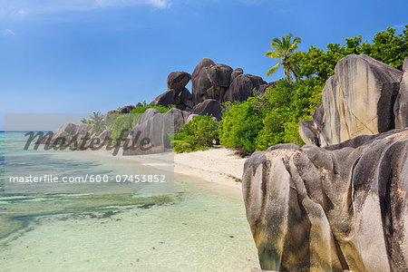 Rock Formations and Palm Trees, Anse Source d´Argent, La Digue, Seychelles Stock Photo - Premium Royalty-Free, Image code: 600-07453852