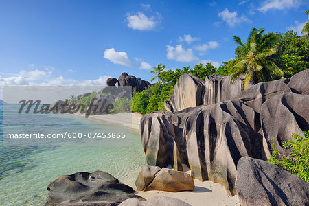 Rock Formations and Palm Trees, Anse Source d´Argent, La Digue, Seychelles Stock Photo - Premium Royalty-Free, Image code: 600-07453855