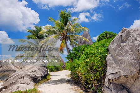 Footpath through Rocks and Palm Trees, Anse Source d´Argent, La Digue, Seychelles Stock Photo - Premium Royalty-Free, Image code: 600-07453860