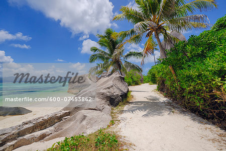 Footpath through Rocks and Palm Trees, Anse Source d´Argent, La Digue, Seychelles Stock Photo - Premium Royalty-Free, Image code: 600-07453862