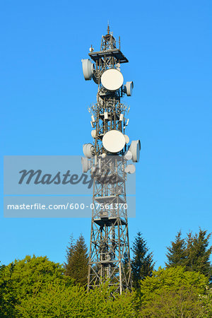 Cell Tower, Odenwald, Hesse, Germany Stock Photo - Premium Royalty-Free, Image code: 600-07561370
