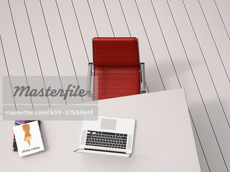 Digital Illustration of Overhead View of Desk with Red Chair, Laptop and Books Stock Photo - Premium Royalty-Free, Image code: 600-07584840
