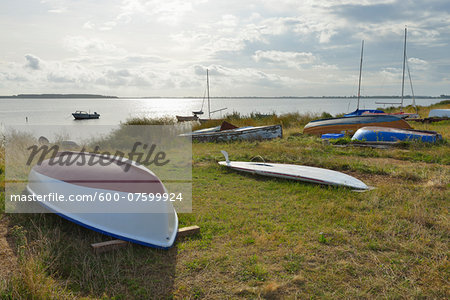 Boats docked on beach, Summer, Vitte, Baltic Island of Hiddensee, Baltic Sea, Western Pomerania, Germany Stock Photo - Premium Royalty-Free, Image code: 600-07599924