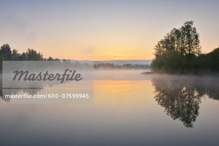 Lake at Dwan with Morning Mist, Spring, Mondfeld, Mainfranken, Franconia, Baden Wurttemberg, Germany Stock Photo - Premium Royalty-Free, Image code: 600-07599945