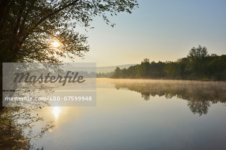 Lake at Sunrise in the Spring, Mondfeld, Mainfranken, Franconia, Baden Wurttemberg, Germany Stock Photo - Premium Royalty-Free, Image code: 600-07599948