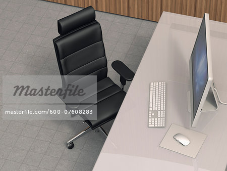 Illustration of modern work station with desktop computer, leather office chair and desk with acrylic glass desktop, studio shot Stock Photo - Premium Royalty-Free, Image code: 600-07608283