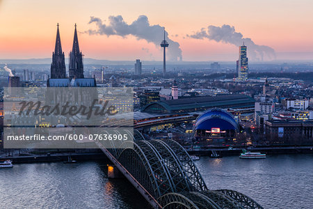 Hohenzollern Railroad Bridge over River Rhine by Cologne Cathedral at Dusk, Cologne, Noth Rhine-Westphalia, Germany
