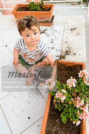 Baby Boy Playing in Flower Box on Balcony Stock Photo - Premium Royalty-Free, Image code: 600-07784383