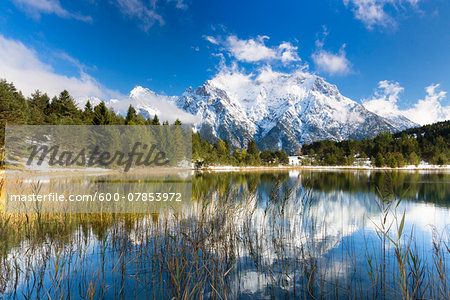 Lake Luttensee in front of Karwendel with Early Snow in Autumn, Werdenfelser Land, Upper Bavaria, Germany Stock Photo - Premium Royalty-Free, Image code: 600-07853972