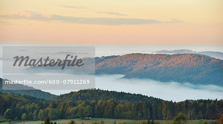 Scenic overview of hills on an early, autumn morning with fog, Bavarian Forest National Park, Bavaria, Germany Stock Photo - Premium Royalty-Free, Image code: 600-07911269