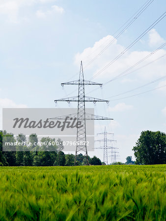 High-voltage Transmission Towers, North Rhine-Westphalia, Germany Stock Photo - Premium Royalty-Free, Image code: 600-07965872