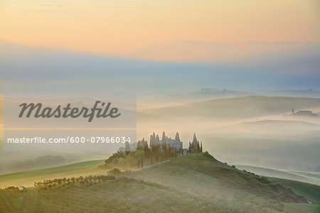 Podere Belvedere near San Quirico d'Orcia at Sunrise, Val d'Orcia, Siena, Tuscany, Italy Stock Photo - Premium Royalty-Free, Image code: 600-07966034