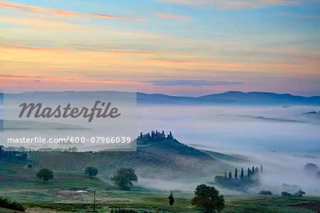 Podere Belvedere near San Quirico d'Orcia at Sunrise, Val d'Orcia, Siena, Tuscany, Italy Stock Photo - Premium Royalty-Free, Image code: 600-07966039