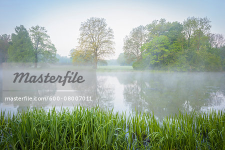 Lake on Misty Morning in Spring, Park Schonbusch, Aschaffenburg, Lower Franconia, Bavaria, Germany Stock Photo - Premium Royalty-Free, Image code: 600-08007011