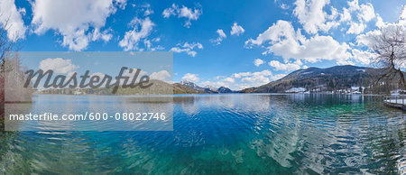 Panoramic of Fuschlsee with Mountains in the background in Early Spring, Austria Stock Photo - Premium Royalty-Free, Image code: 600-08022746