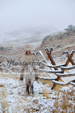 Cowgirl riding horse beside fence in snow, Rocky Mountains, Wyoming, USA Stock Photo - Premium Royalty-Free, Image code: 600-08026166