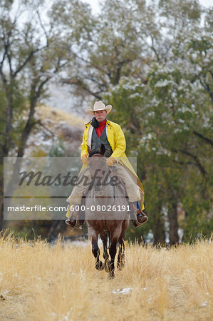 Cowboy Riding Horse, Rocky Mountains, Wyoming, USA Stock Photo - Premium Royalty-Free, Image code: 600-08026191