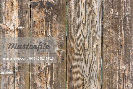 Close-up of bare, weathered barn boards, Odenwald, Hesse, Germany