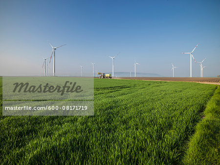 Group of wind turbines, Titz, Germany Stock Photo - Premium Royalty-Free, Image code: 600-08171719