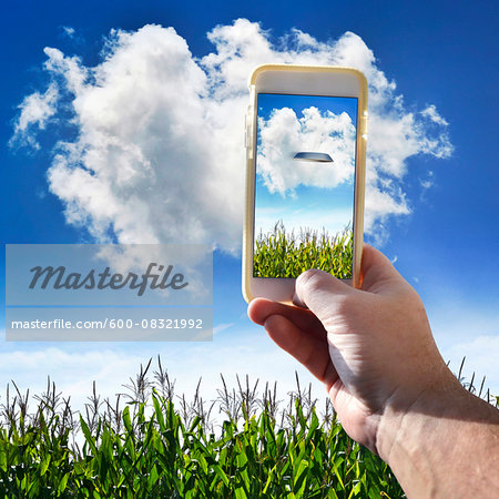 Hand Holding Cell Phone in Cornfield Stock Photo - Premium Royalty-Free, Image code: 600-08321992
