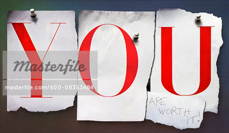 Cut out letters, YOU, pinned to wall Stock Photo - Premium Royalty-Free, Image code: 600-08353484