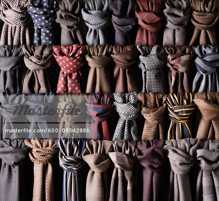 Close-up of rows of coloured and knotted scarves Stock Photo - Premium Royalty-Free, Image code: 600-08542886