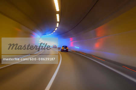 Driving through Tunnel with Traffic, Austria Stock Photo - Premium Royalty-Free, Image code: 600-08639187