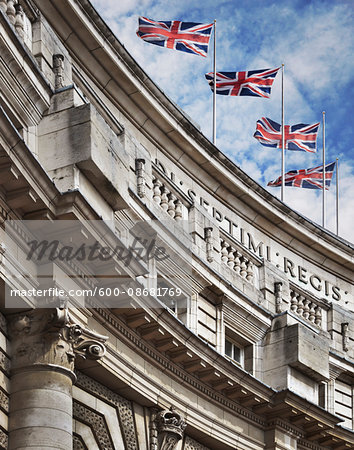 Top of the Admiralty Arch building with British Flags, London, England Stock Photo - Premium Royalty-Free, Image code: 600-08681769