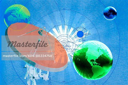 Globes with map of universe and satellite dish