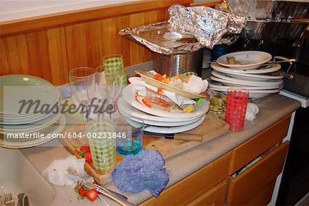 Dirty dishes on counter Stock Photo - Premium Royalty-Free, Image code: 604-00233846
