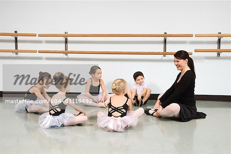 Children in ballet class watching instructor Stock Photo - Premium Royalty-Free, Image code: 604-01119492
