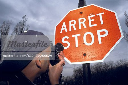 Canada, Quebec, Montreal, bilingual Stop sign