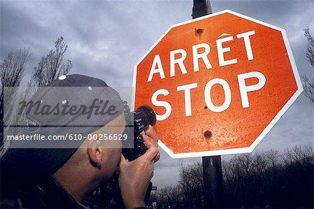 Canada, Quebec, Montreal, bilingual Stop sign