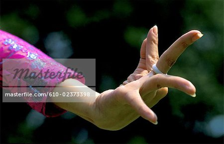 Thailand, Bangkok, Vimanmek palace, traditional folk dance, hand detail
