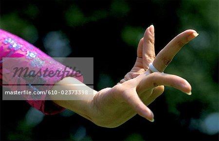 Thailand, Bangkok, Vimanmek palace, traditional folk dance, hand detail