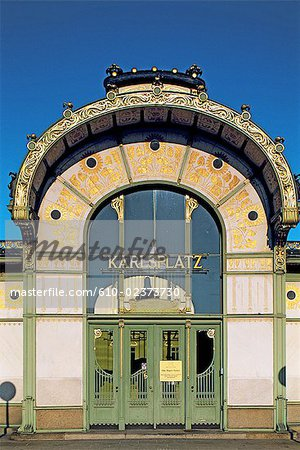 Austria, Vienna, Karlsplatz cafe, Art nouveau facade Stock Photo - Premium Royalty-Free, Image code: 610-02373730