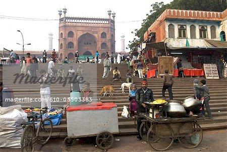 India, New Delhi, market and the Jama Masjid.