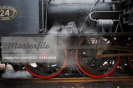 An old black steam engine, Sweden. Stock Photo - Premium Royalty-Free, Image code: 6102-03905664