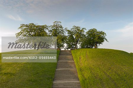 View of stairs with hill Stock Photo - Premium Royalty-Free, Image code: 6102-05655443