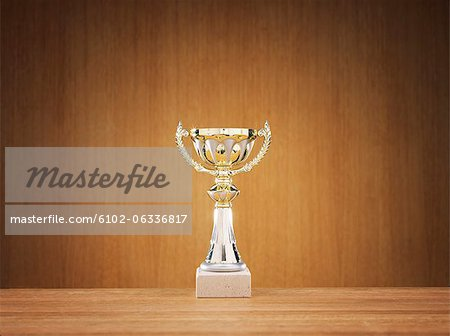 Trophy on wooden background Stock Photo - Premium Royalty-Free, Image code: 6102-06336817
