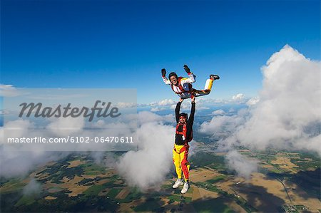 Parachute jumpers in the sky, Sweden. Stock Photo - Premium Royalty-Free, Image code: 6102-06470611